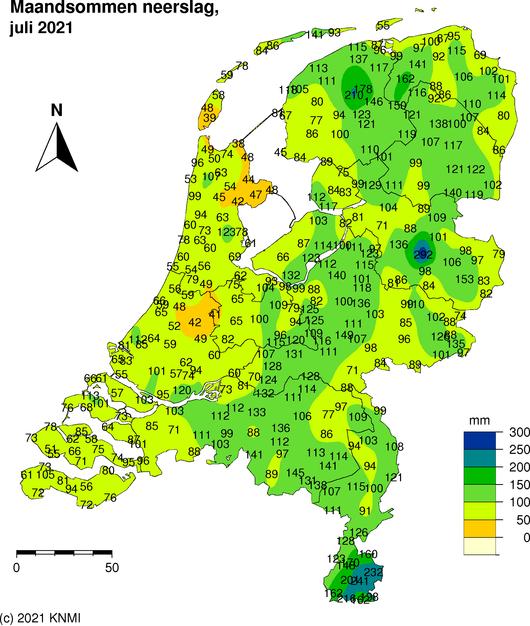 Foto gemaakt door KNMI - Het overzicht van de regengegevens van de julimaand, zoals net gepubliceerd door het KNMI. De foutieve waarde van Helendoorn staat er nog in. Die is naar 195 millimeter bijgesteld.
